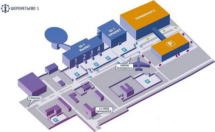 Схема аэропорта Шереметьево-1