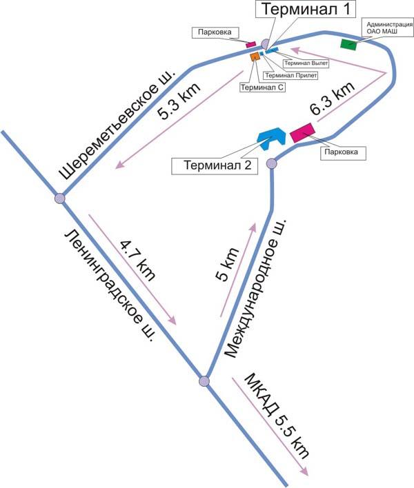 Схема проезда к аэропорту